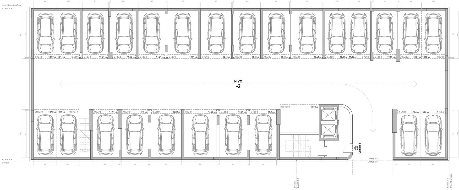 Blok D Lamela 5 Garaža Nivo -2